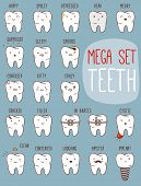Постер, плакат: Teeth treatment set Dental collection for your design with different teeth characters