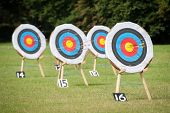 picture of archery  - archery targets at various distances on a range - JPG