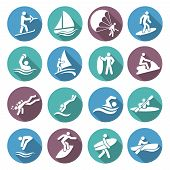 stock photo of water jet  - Water sports white icons set with diving sailing windsurfing people isolated vector illustration - JPG
