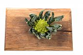 picture of romanesco  - Romanesco cauliflower on a wooden board on a white background - JPG