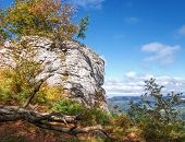 stock photo of swabian  - Autumn at Albtrauf in the Swabian Alps in Germany - JPG