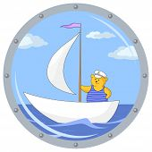 pic of sloop  - Window porthole with the review on the ship on which the teddy bear captains floats - JPG