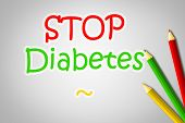 pic of diabetes symptoms  - Stop Diabetes Concept text on background idea - JPG