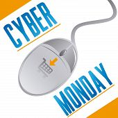 stock photo of monday  - an isolated grey mouse with a cart tattoo and text for cyber monday - JPG