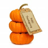 stock photo of happy thanksgiving  - Stack of mini pumpkins with Happy Thanksgiving tag on a white background - JPG