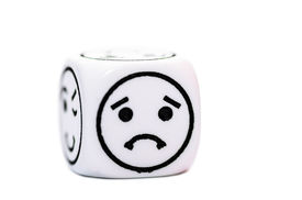 pic of emoticon  - single emoticon dice with sad expression sketch isolated on white background  - JPG