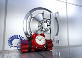 picture of vault  - bank vault with a bomb concept of safety or risk  - JPG
