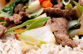 pic of stir fry  - orange and ginger beef stir fry over brown rice  - JPG