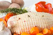 image of raw chicken sausage  - Baked chicken stuffed with fresh raw vegetables - JPG