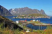 stock photo of reining  - Norway village with mountain  - JPG
