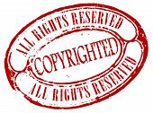 stock photo of plagiarism  - Retro copyrighted stamp isolated on white background - JPG