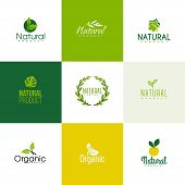 stock photo of naturism  - Set of natural and organic products logo templates - JPG