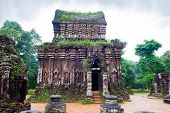 foto of champa  - MySon temples in cloudy weather in Vietnam - JPG