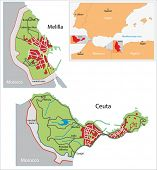 stock photo of ceuta  - Illustration of a autonomous city of Ceuta and Melilla - JPG
