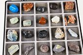 picture of malachite  - Set a collection of rocks minerals in the box - JPG