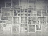 stock photo of cell block  - Abstract chaotic square cells structure over concrete wall - JPG