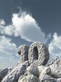 pic of ten  - number ten rock under cloudy blue sky  - JPG