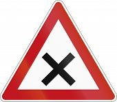 image of crossroads  - German sign warning about crossroads without priority road - JPG