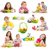 image of rabbit year  - easter photo collection of children with rabbits on a white background - JPG