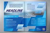 stock photo of trapezoid  - Brochure design two pages a4 template - JPG