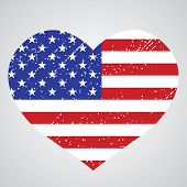 picture of patriot  - Patriotic emblem of usa in the shape of a heart - JPG