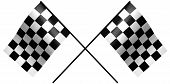 image of dragster  - single checkered flag on white - JPG
