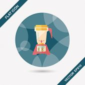 pic of juicer  - Kitchenware Electric Juicer Flat Icon With Long Shadow - JPG