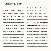 picture of geometric  - Hand drawn vector line border set and scribble design element - JPG