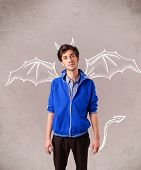 picture of nasty  - Young nasty man with devil horns and wings drawing - JPG