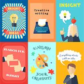 foto of muse  - Six Muse bright ideas creative writing and insights mini poster set isolated vector illustration - JPG