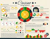 stock photo of poker machine  - Casino infographics set with gambling and fortune games symbols and charts vector illustration - JPG