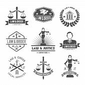 stock photo of law order  - Law order and crime preventing lady justice symbols collection black graphic labels pictograms set isolated vector illustration - JPG