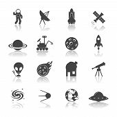 picture of meteorite  - Space galaxy exploration icons black set with spaceship satellite astronaut shuttle isolated vector illustration - JPG