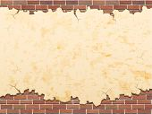 stock photo of stonewalled  - concrete wall with cracks and brick vector grunge background - JPG