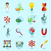 stock photo of structure  - Science icons set with scientist laboratory flask lightbulb dna structure isolated vector illustration - JPG