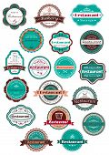 picture of chef knife  - Retro restaurant and bakery labels in stylish combination of vintage blue - JPG