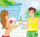 stock photo of voyeur  - flirting couple and Relax by the pool  - JPG