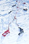 stock photo of sled  - Harness for racing sled dogs lying in the snow - JPG