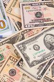 stock photo of twenty dollar bill  - Close up of different dollar bills - JPG