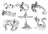 image of compose  - Abstract sheet music design elements depicting music staves with treble clefs - JPG