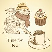 image of hare  - Sketch fancy hare cup cupcake in vintage style vector - JPG