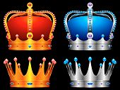 foto of crown jewels  - Golden and silver crowns decorated with jewels - JPG