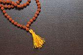 image of prayer beads  - Japa mala on the table - JPG