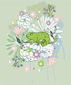 stock photo of chameleon  - Stylish floral background with cartoon chameleon in light colors - JPG