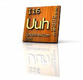 Ununhexium Periodic Table Of Elements - Wood Board poster