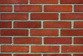 picture of mortar-joint  - Wall made of orange  brick with white joints - JPG