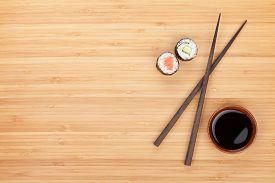stock photo of soy sauce  - Maki sushi - JPG