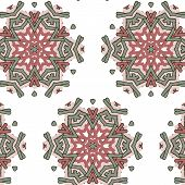 stock photo of primitive  - Primitive simple retro seamless pattern with stars and circles - JPG