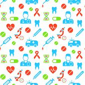 picture of ambulance  - Medicines and medical science seamless background pattern - JPG