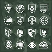 image of crossed swords  - Vector military symbol icons set - JPG